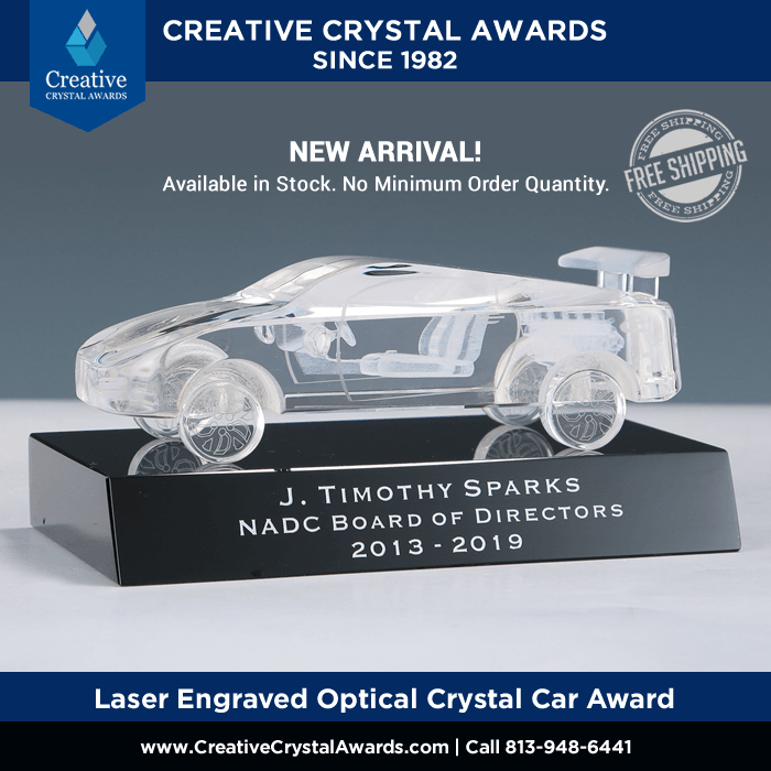 laser engraved optical crystal auto award