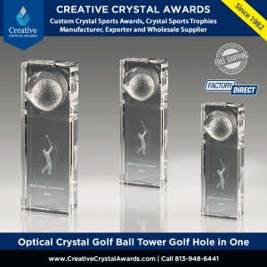 optical crystal golf ball tower trophy crystal golf award