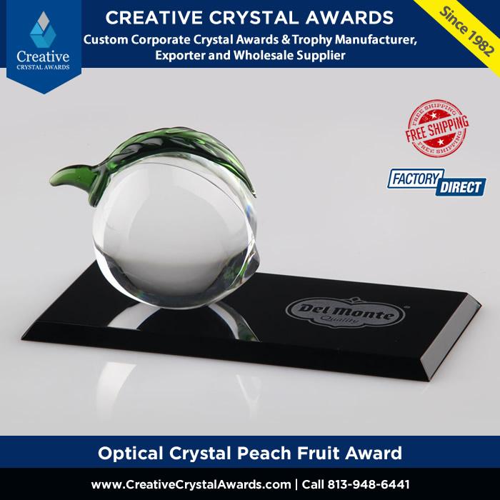 optical crystal peach fruit award