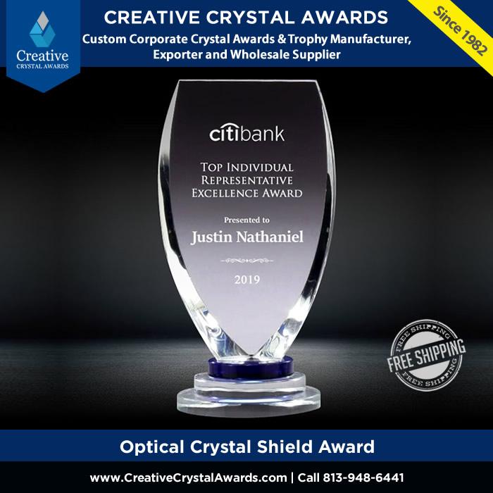 optical crystal shield award custom crystal shield shape plaque