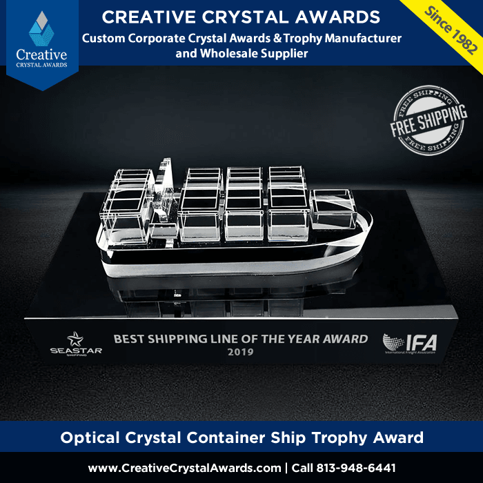 optical crystal ship award custom crystal ship trophy
