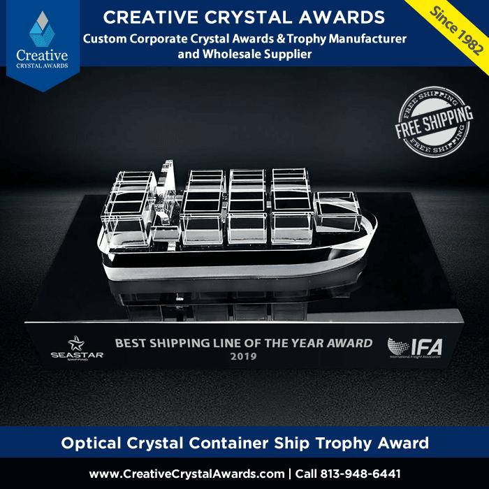 optical crystal ship award custom crystal ship trophy