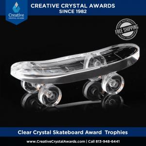 optical crystal skateboard award engraved crystal skateboarding trophies