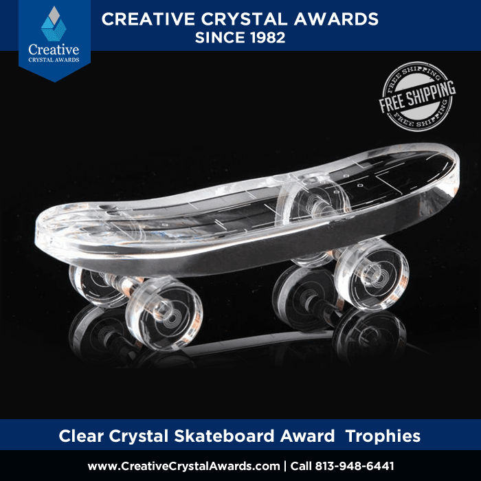 optical crystal skateboard award engraved crystal skateboarding trophies
