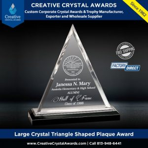 optical crystal triangle shaped plaque award triangle crystal award plaque