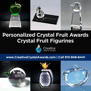 personalized crystal fruit awards crystal fruit figurines