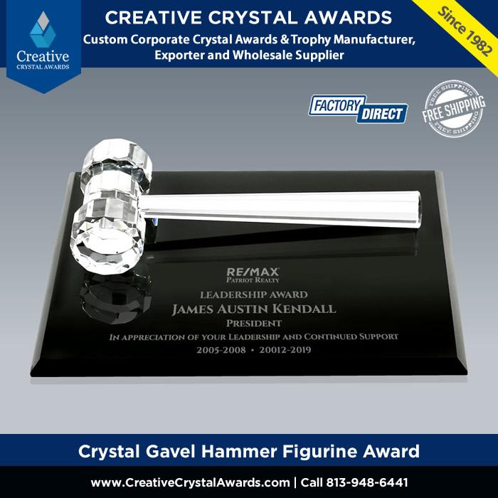 personalized crystal gavel award optical crystal gavel hammer figurine award for lawyer