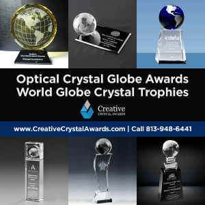 personalized crystal globe awards world globe crystal trophies