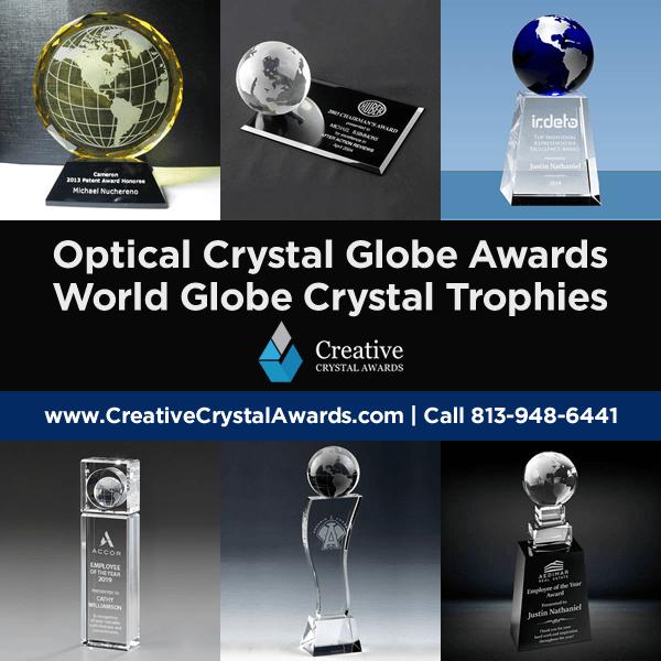 personalized crystal globe awards world globe crystal trophies