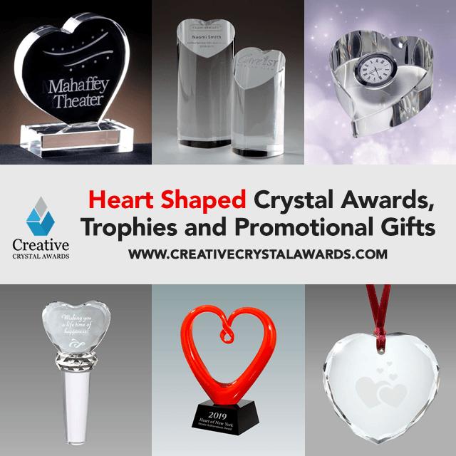 Personalized Crystal Heart Awards Engraved Crystal Heart Trophies