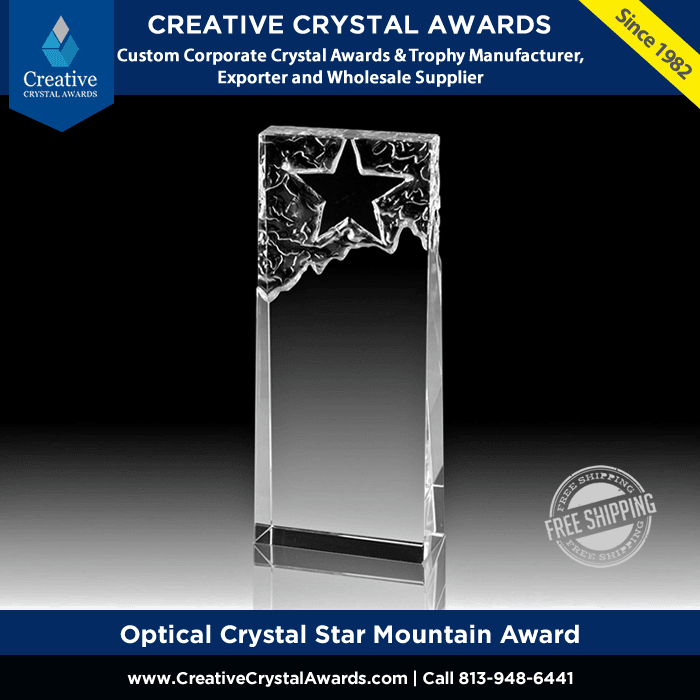 personalized crystal star mountain star crystal tower award