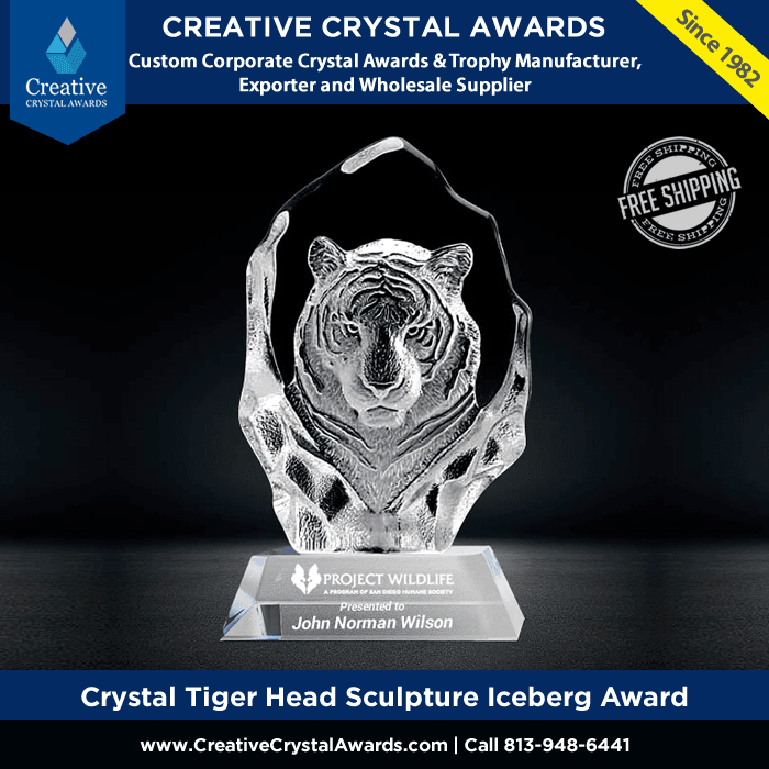 personalized crystal tiger head sculpture iceberg award