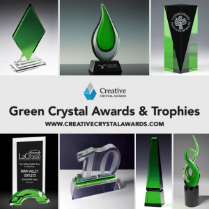 Engraved Green Crystal Trophy Awards
