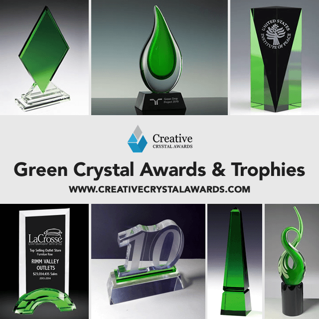 Engraved Green Crystal Trophy Awards