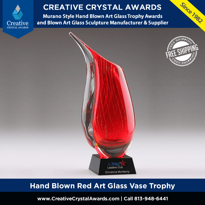 personalized red art glass vase trophy