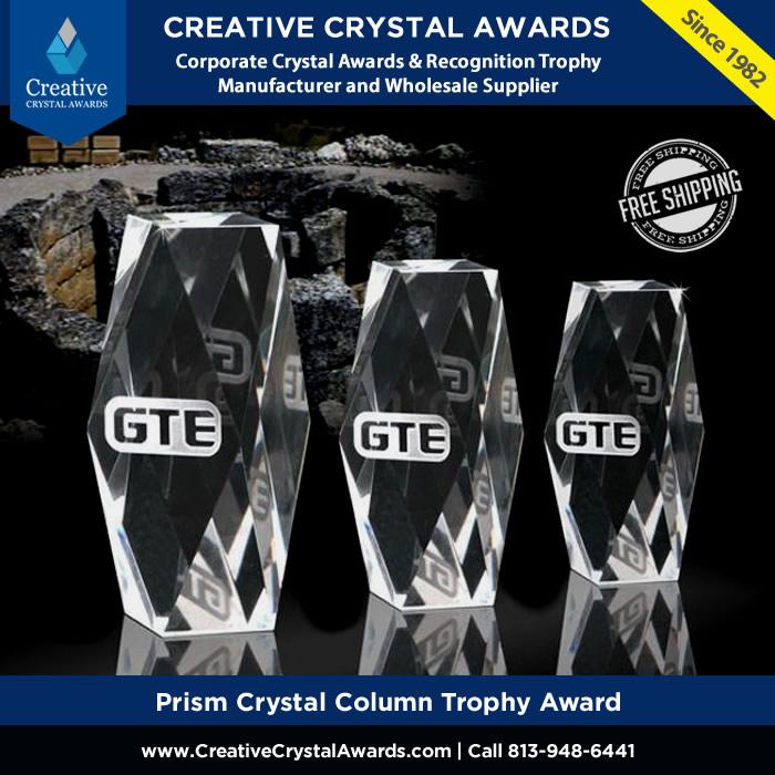 prism crystal column award prism cut crystal pillar trophy