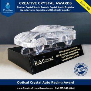 racing car crystal award 3d crystal auto racing award