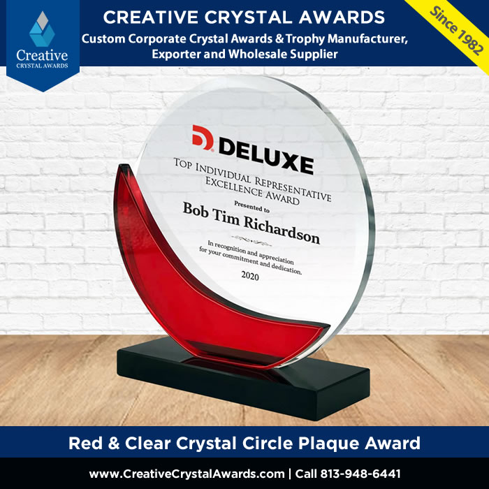 red and clear crystal circle plaque award