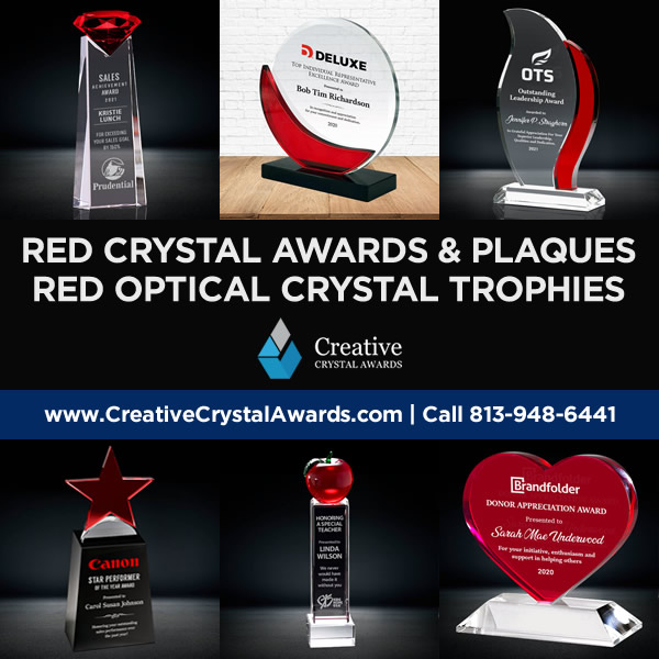 red crystal awards red optical crystal award trophies