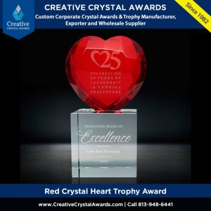 red crystal heart award crystal red heart award red crystal heart trophy