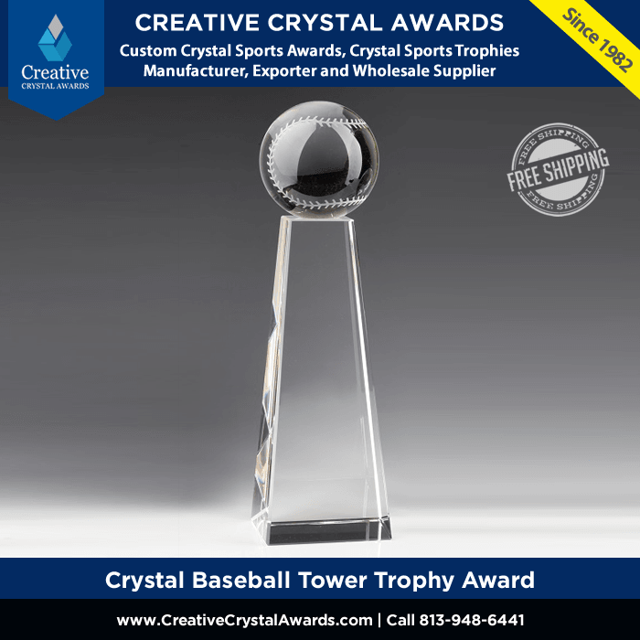 sports crystal baseball tower trophy award