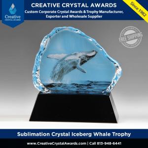 sublimation crystal iceberg whale trophy crystal iceberg award