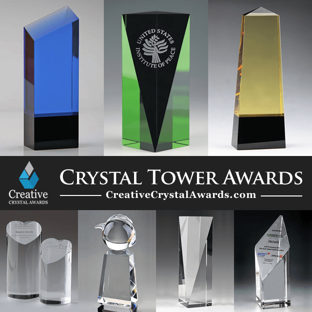 Crystal Tower Awards Engraved Tower Crystal Trophies