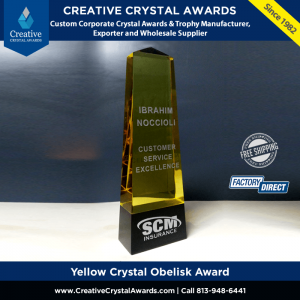 yellow crystal obelisk award golden crystal tower award obelisk trophy