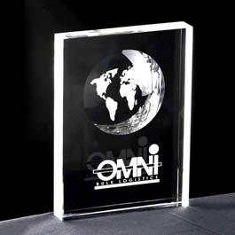 rectangle crystal block award
