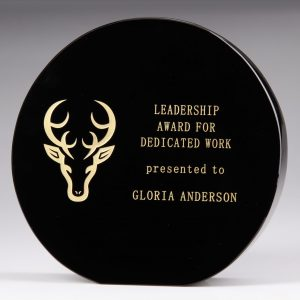 black crystal circle plaque award