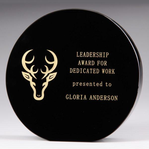 black crystal circle plaque award