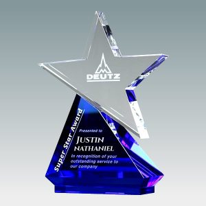 clear crystal star award on blue crystal triangle base