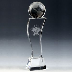 crystal globe tower trophy