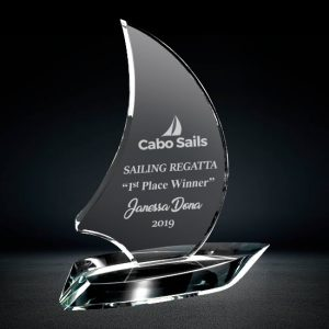 optical crystal sailboat award