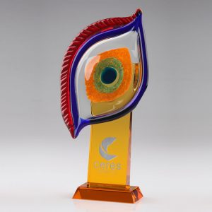 blown art glass eye sculpture trophy award
