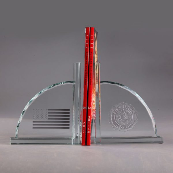 clear optical crystal bookends crystal gift award