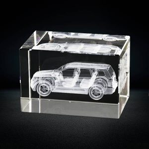 3d laser engraved car model inside crystal rectangle block