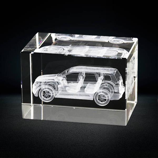 3d laser engraved car model inside crystal rectangle block