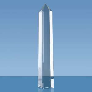 Tall Crystal Faceted Obelisk Tower Award