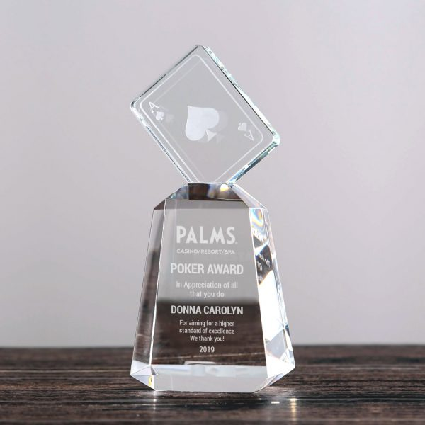 crystal poker trophy award