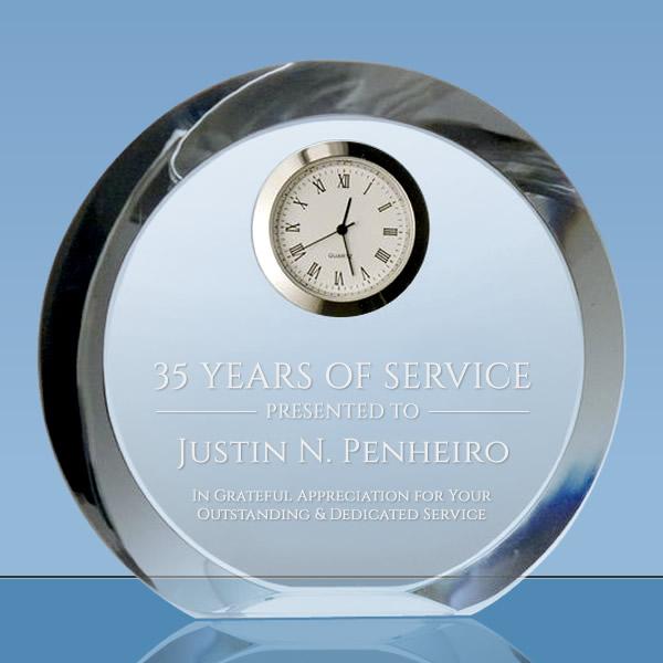 round crystal desk clock award