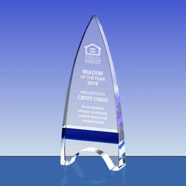 arrow shape tower crystal award