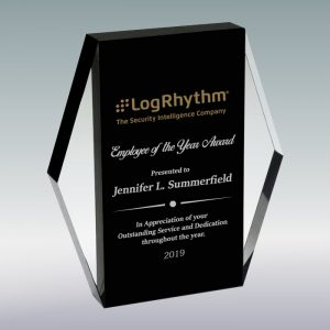 Black Crystal Rectangle Plaque Award