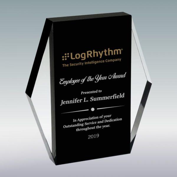 Black Crystal Rectangle Plaque Award