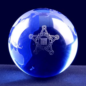 Blue Globe Crystal Paperweight
