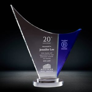 Blue and Clear Curve Crystal Award