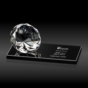 Crystal Diamond Award on Black Base