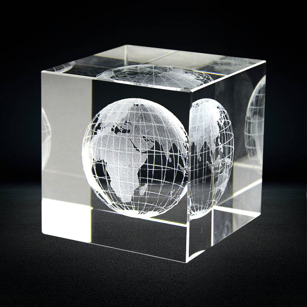 3D Laser Engraved Crystal Cube Paperweight