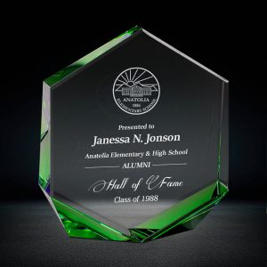 Green Hexagon Crystal Award