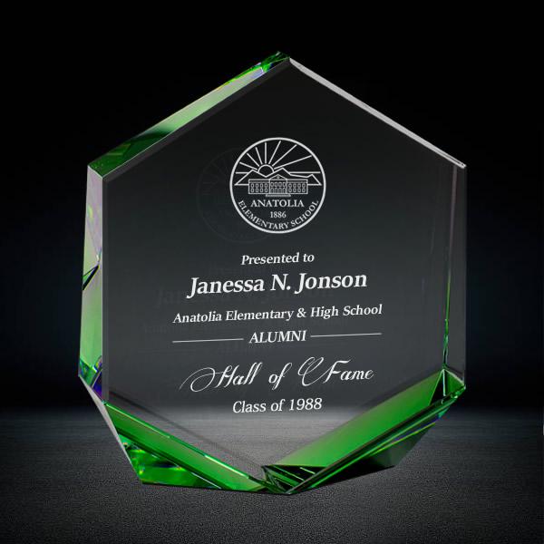 Green Hexagon Crystal Award